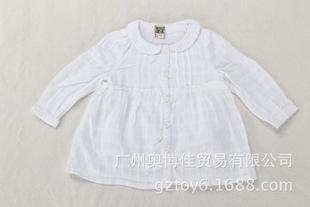 微瑕疵 外贸原单童装 女童全棉长袖衬衫白色小清新童衬衣娃娃衫