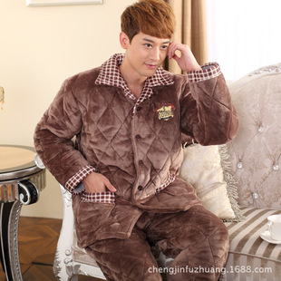 The winter men coral fleece pajamas Three layer thickening flannel cotton cardigan leisurewear lapels