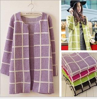 2015新款秋装韩版方格子针织中长款宽松开衫长袖大码毛衣外套女装