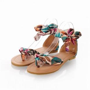 大码女鞋40-43码波西米亚丝带凉鞋度假约会少女学生凉鞋 326-4