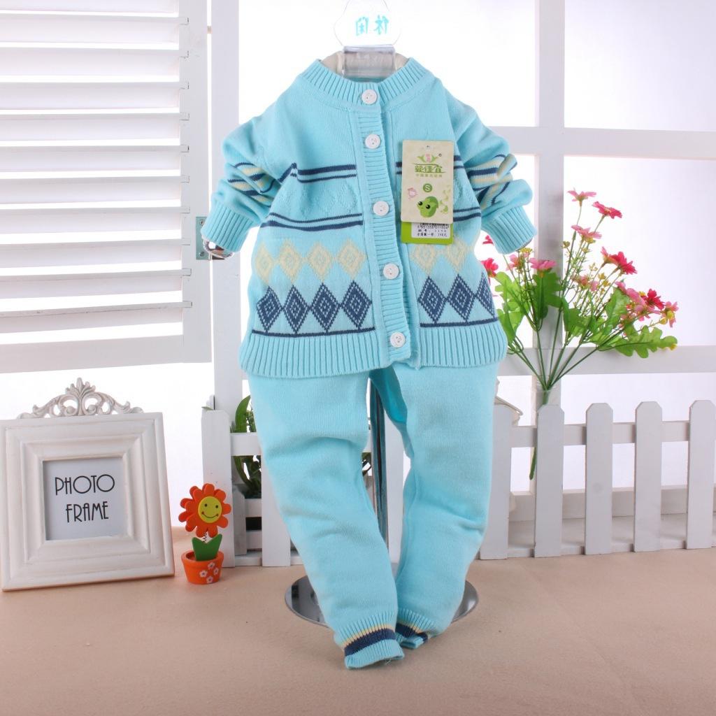 婴幼儿春装,婴佳宜方块开衫毛衣套装1150,纯棉婴儿针织衫两件套