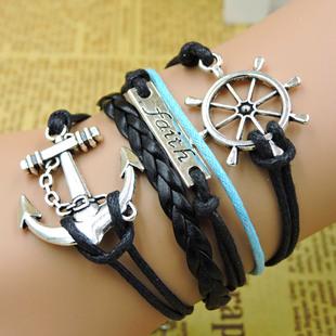 复古手链欧美外贸爆款手饰方向盘船锚手链faith英文字母编织手链