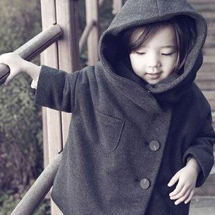 供应 外贸童装 16冬季儿童大衣 羊绒呢子外套 连帽韩国厚外衣上衣