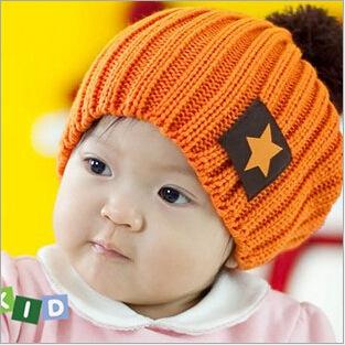 儿童帽 五角星布标毛线帽子 宝宝针织帽 秋冬帽子