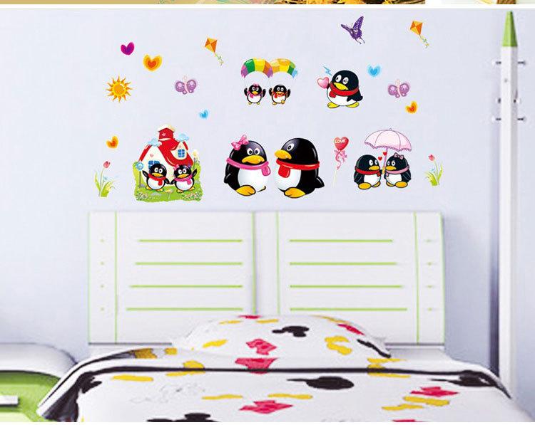 可爱儿童房卧室贴画卡通企鹅Q仔韩国QQ贴 AY631 墙