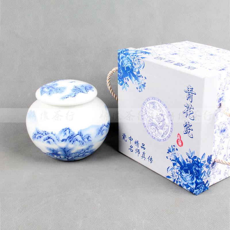 高档山水茶叶罐 景德镇青花瓷陶瓷储物罐 密封罐 礼品罐批