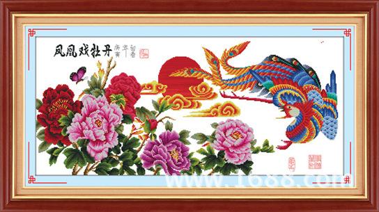 十字绣凤凰戏牡丹图片