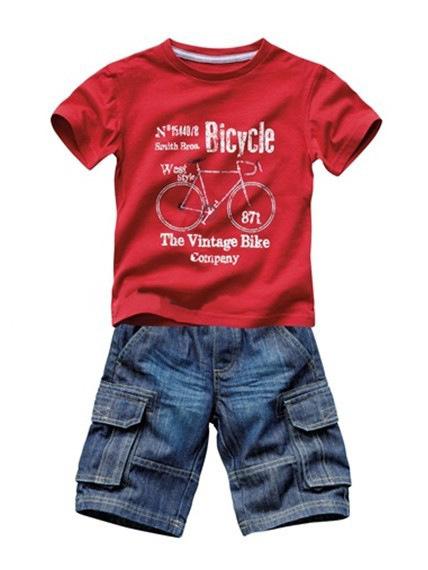 夏季新款男孩童印单车红色短袖T恤 仿牛仔七分裤套装