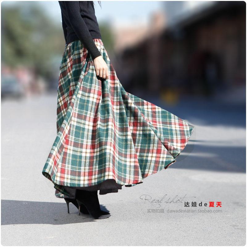 达娃2015春季新款 毛呢半身裙 显瘦伞裙 百搭红绿格子口袋长裙