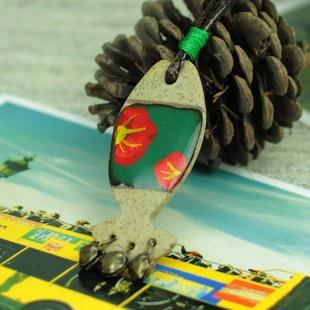 景德镇陶瓷首饰批发个性陶泥纯手工项链挂件水中游泳的鱼JXD115