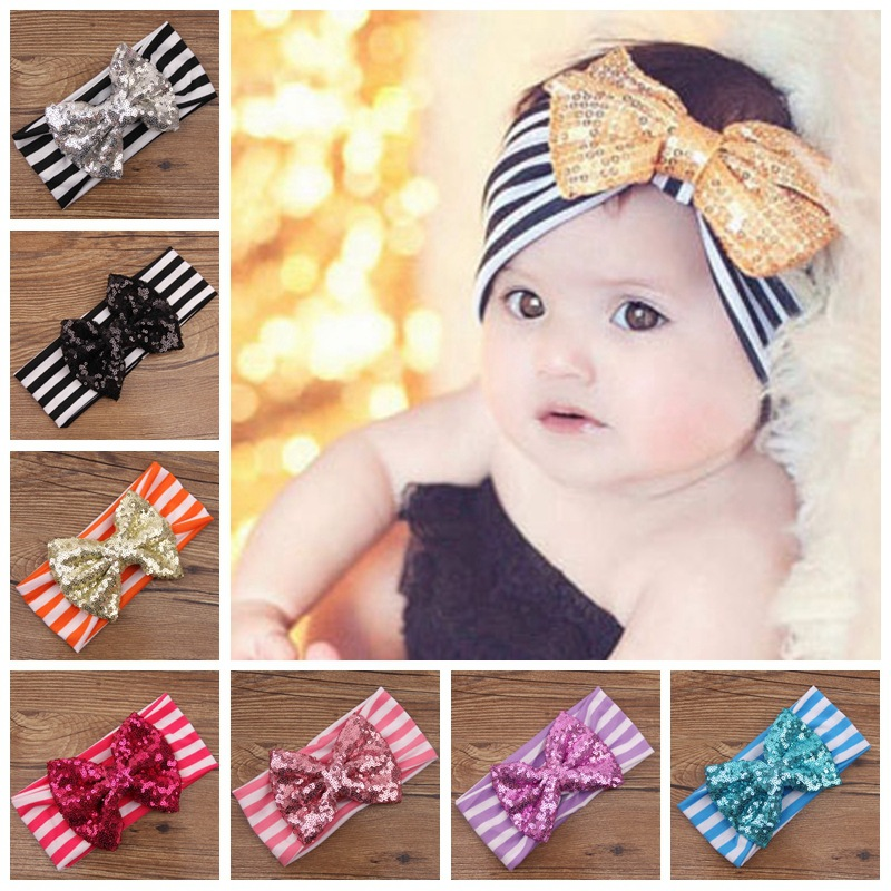European Baby Striped Sequin Bow Headbands Girls Infant Cute Cotton ... b7067919808