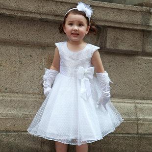 特价清仓 儿童婚纱童装礼服白色花童装女童公主裙圣诞演出舞蹈服