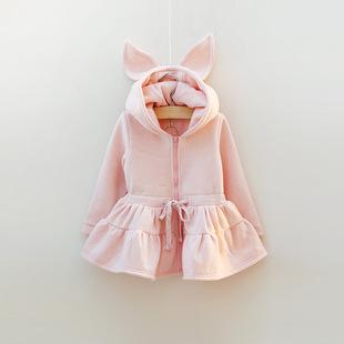 供应 15新款童装 正品冬季儿童加绒卫衣 绒衫 女童连帽外套