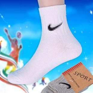 外贸中筒春秋松口全棉儿童袜子 竖条纹女男学生纯白色运动袜