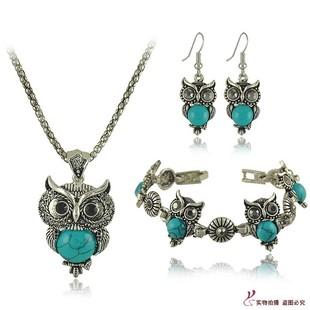 外贸爆款欧美绿松石耳环项链套装 复古猫头鹰手链首饰三件套 S124