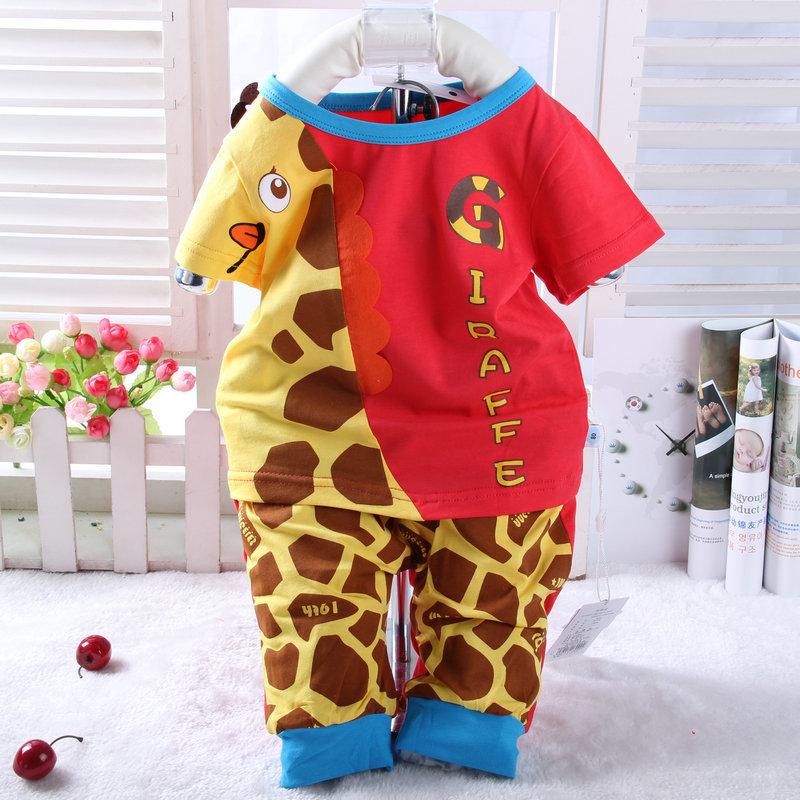 2015新款夏季童装 泽贝酷长颈鹿奥代尔圆领七分套 男女童套装3099
