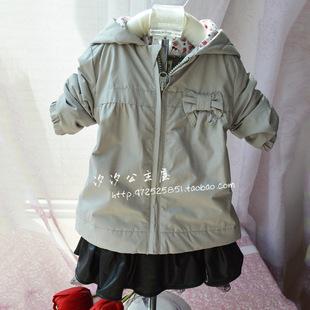 外贸原单清仓0-2岁女宝宝春款薄棉外套连帽防风衣粉色 一件起批