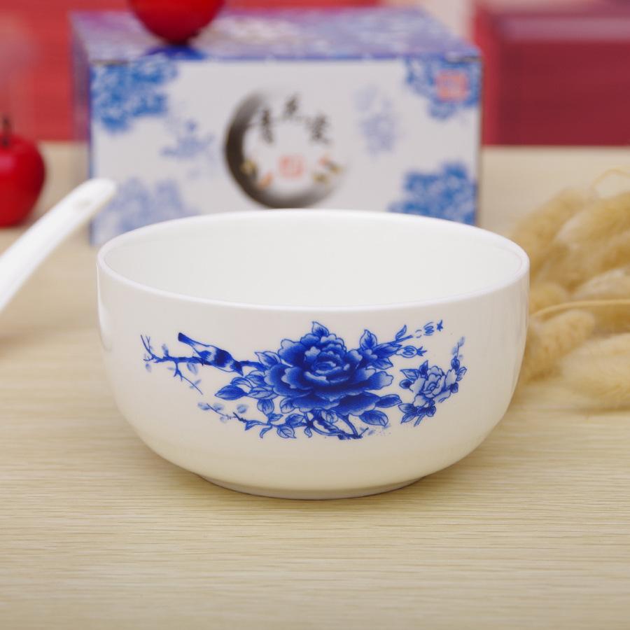 陶瓷碗 1碗1勺青花 韩式 logo定制