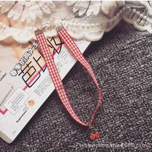 Японские Харадзюку мягкой сестра Черри ожерелье мода прямо тендер мягкой сестра Черри кружева клетчатый ожерелье