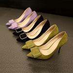 Giày cao gót nữ mũi nhọn, thiết kế cúc vuông độc đáo, ấn tượng