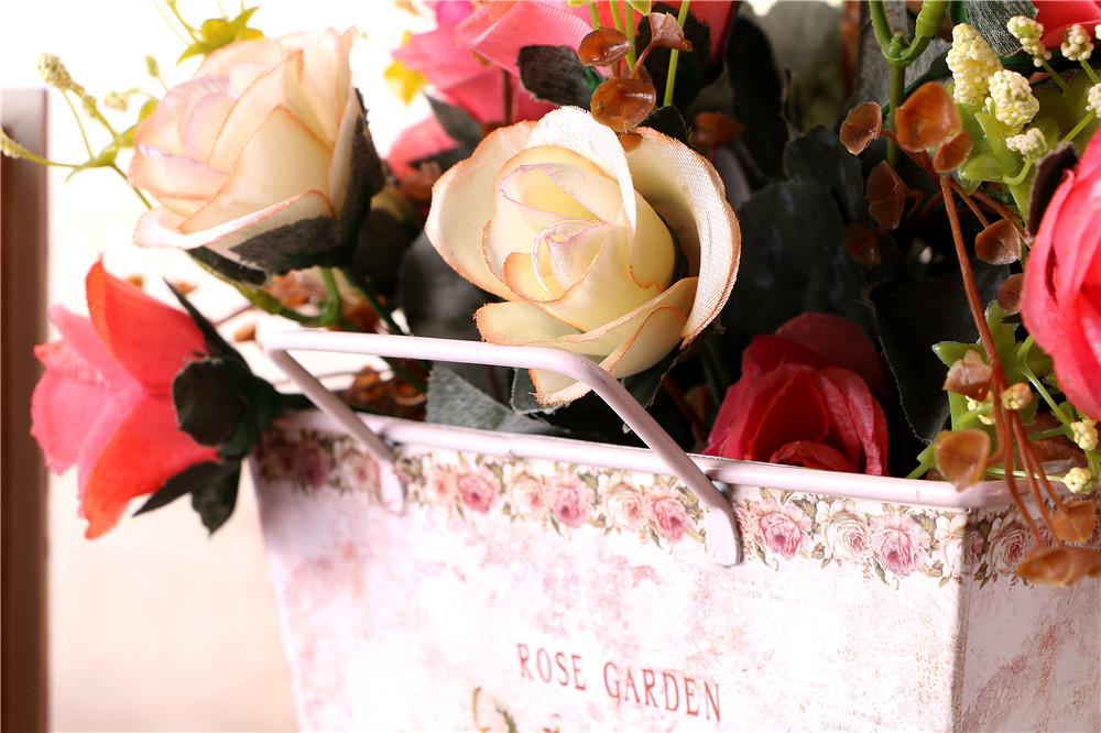 欧式铁皮花瓶 贴纸铁皮花盆 仿真花插花花器 三件套花器批发 -仿真花