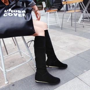 2016新款冬季低跟高筒靴 交叉绑带带骑士靴磨砂大小码女靴子