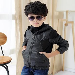 【潮童比酷】秋冬季男童夹棉PU皮外套 韩版纯色大童皮夹克大衣潮