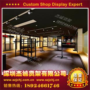 专业设计定制大型连锁店服装陈列架展示架挂衣架精品铁木结合货架