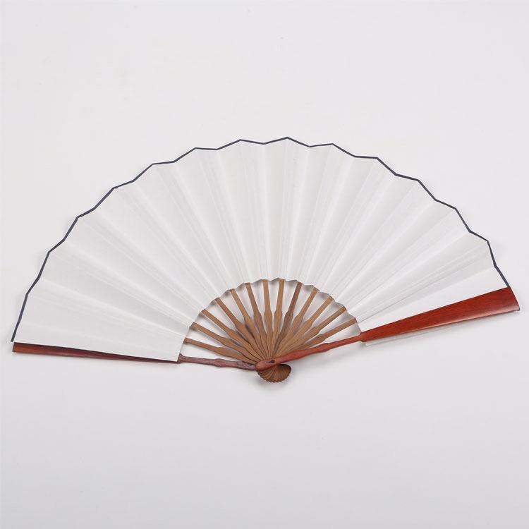 精品宣纸折扇 一尺竹芯红木纸扇 10寸13档15方 白色洒金宣纸扇面