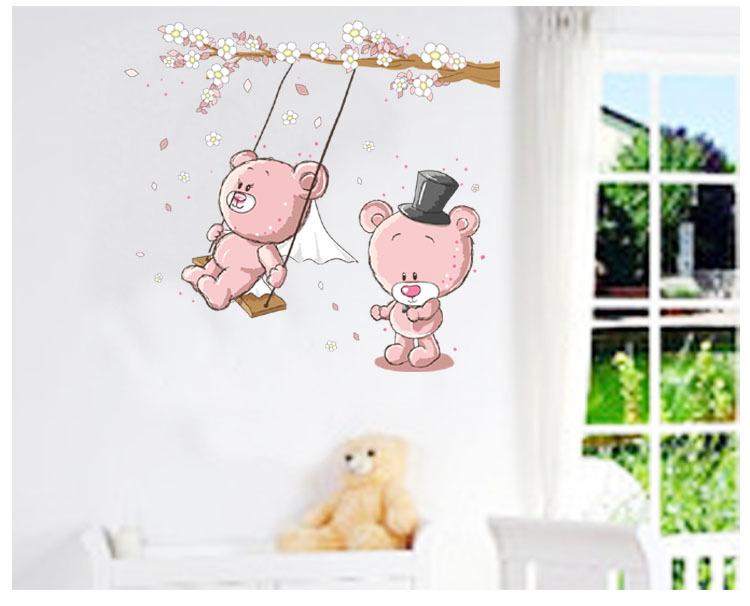 幼儿园装饰贴画 卡通墙贴创意幼儿园装饰特大呆呆熊jm7234 阿里巴巴