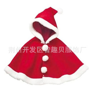 秋冬款圣诞元旦新年满月百天周岁喜庆红色披风披肩外出服童外套