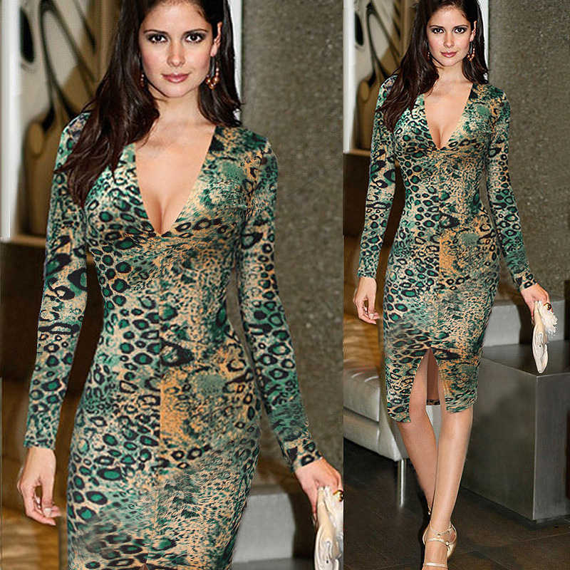 5ee07ce285 2019 New Women Sexy Leopard Print Bodycon Party Dress Slim Deep V ...