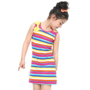 外贸童装女童蝴蝶结连衣裙 儿童彩色条纹无袖彩虹裙 裙子童裙热卖
