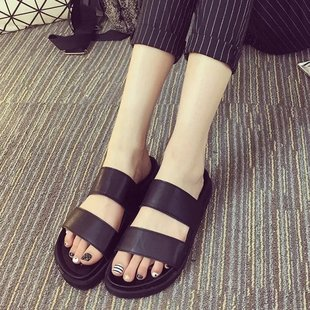 夏季新款平底平跟凉拖鞋简约时尚鱼嘴厚底一字拖女沙滩鞋批发代发