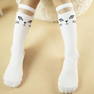 韩国原宿风纯棉中高筒袜卡通猫头蕾丝网纱全棉长筒袜儿童袜子批发