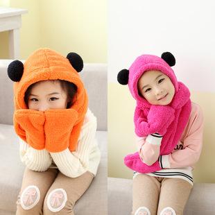 秋冬新款双球围巾帽子手套一体可爱双层毛绒加厚保暖三件套儿童款