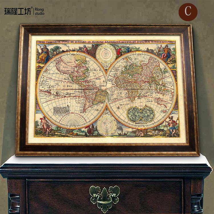 【美式复古世界地图装饰画