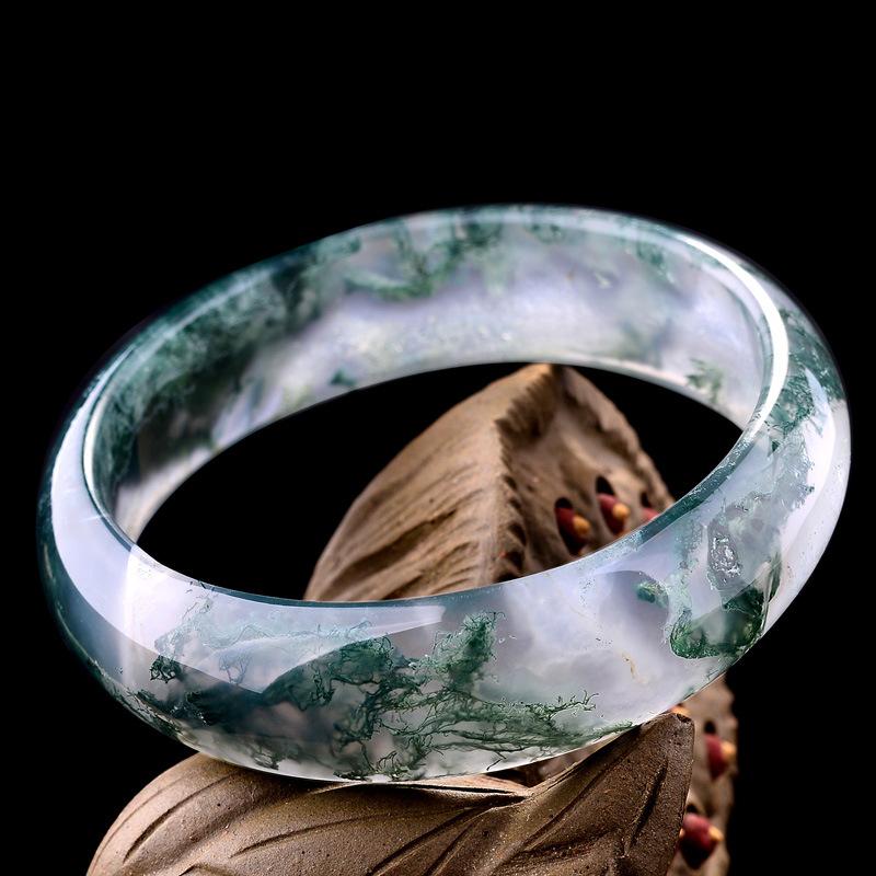 石仙 精品印度天丝玛瑙手镯57MM水草玛瑙玉髓女手镯5281水晶饰品