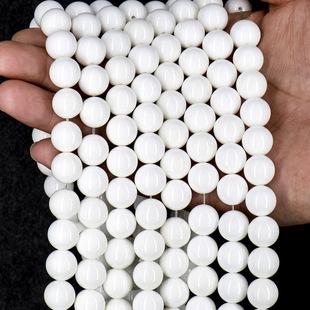 白砗磲散珠 厂家直营批发  天然10级纯白砗磲半成品圆珠散珠 砗磲