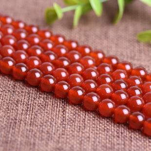天然红玛瑙DIY饰品配件材料 天然红玛瑙半成品串珠散珠子