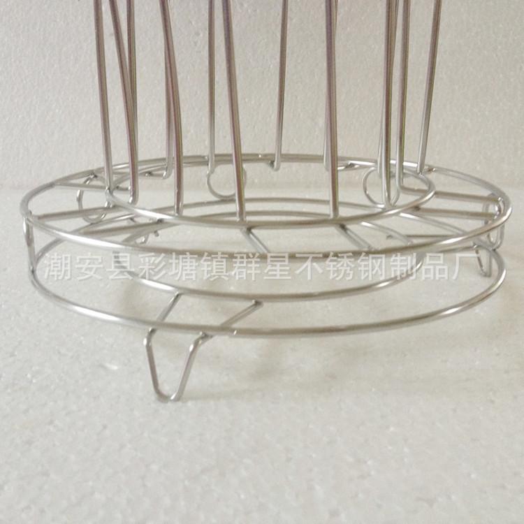 杯子沥水架 不锈钢六位水杯架 酒杯架 杯挂架 倒扣架图片_13