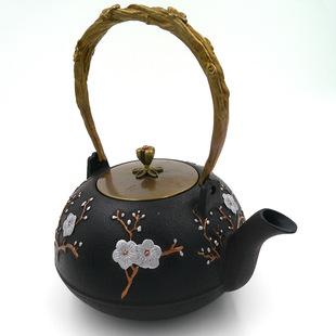 铸铁茶壶厂家供应无涂层纯手工铁茶壶喜上眉梢图案老铁壶批发茶具