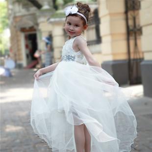 童裙欧美童装女童礼服钢琴演出服前短后长拖尾裙子女童连衣裙夏