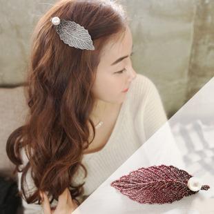 韩国发饰批发 头饰品珍珠树叶子发夹边夹刘海夹子批发