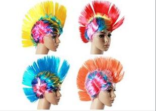 欧美万圣节派对狂欢舞会假发 球迷发 彩色混色鸡冠头假发工厂直销