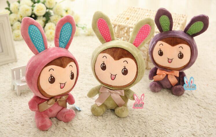 厂家定制 毛绒玩具 创意领结变脸兔 兔娃娃生日礼物
