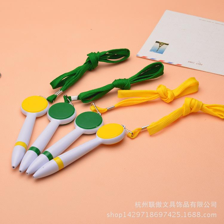 供应优质塑料材质圆珠笔 挂绳圆珠笔 广告笔 可定制LOGO