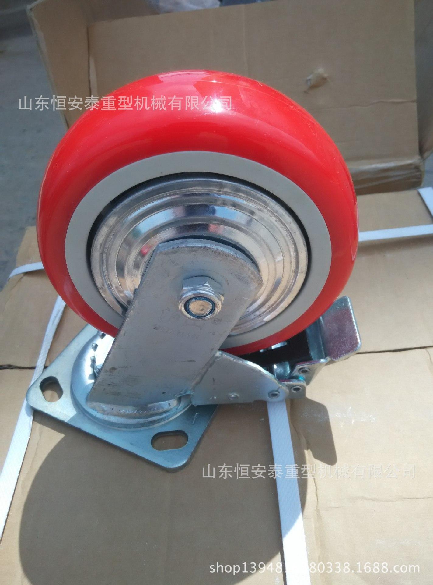 万向轮轮子6寸超重型脚轮实心铸铁橡胶滑轮超重载工业设备