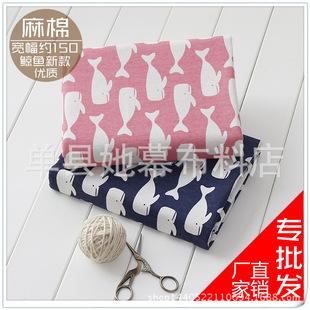 厂家直销 棉麻布料 面料 麻布 印花高质量品质 麻棉桌布窗帘