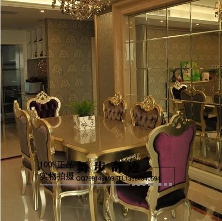 实木餐桌_欧式新古典长方形餐桌椅实木餐桌布艺餐椅